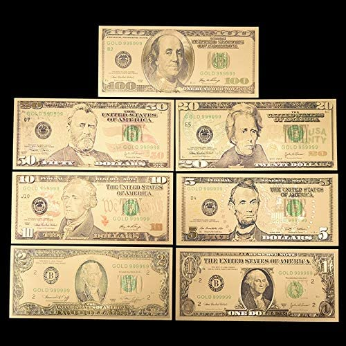 HENGTONGTONGXUN ホームデコレーションギフト用7PCS /ロット米国金箔紙幣アメリカの偽紙幣のすべてのドル紙幣紙幣コレクション 使いやすい (色 : A)