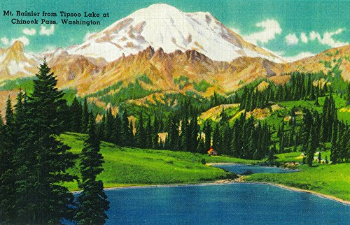 Chinook Coffee Press Mug - Mt. Rainier from Tipsoo Lake at Chinook Pass (36x54 Giclee Gallery Print, Wall Decor Travel Poster)