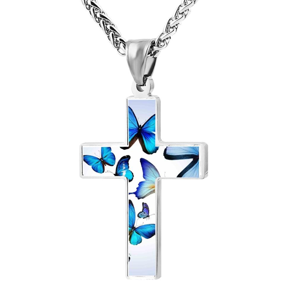 Polished Butterfly Christian Cross Necklace Religious Jewelry Pendant