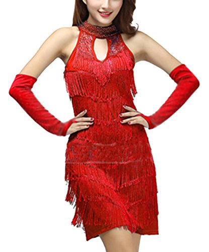 Latino Funcionamiento Latina Vestidos Mujer Danza Lentejuela Salsa Borla Baile Ropa Rojo 8P5qpTwx5
