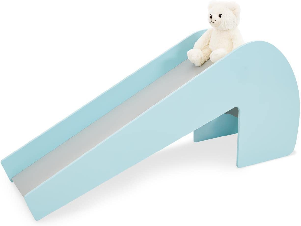 PINOLINO Lotta Indoor Wooden Slide Load 60 kg with 2 Eye Stickers for Children 3 Years and Up Mint Grey