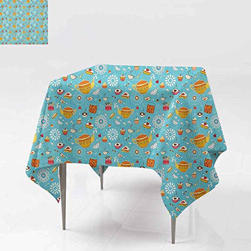 AndyTours Spill-Proof Table Cover,Tea Party,Drawing Style Lovely Elements Floral Motifs and Cute Birds Muffins Latte,Party Decorations Table Cover Cloth,54x54 Inch Sky Blue Multicolor