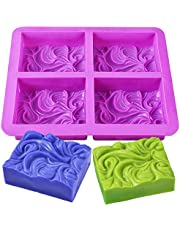 Newk Silicone Soap Molds, 4-Cavities DIY Handmade Soap Mold with Vivid Wave Pattern for Milk Soap (3.5 Oz Cavities)