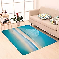 Sophiehome skid Slip rubber back antibacterial  Area Rug Beyond the Horizon. Fantasy Landscape with Large Moon on the Horizontal, Mountains and the Calm Sea_36422499 Home Decorative