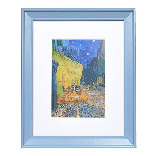 - 8x10 Wood Picture Frame - Beveled Profile - 1pc - for Picture 5x7 with Mat or 8x10 Without Mat (Blue)