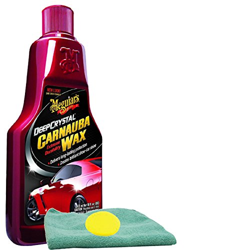 Meguiar's Deep Crystal Carnauba Liquid Wax (16 oz.), Bundled with Foam Pad & Microfiber Cloth (3 Items)