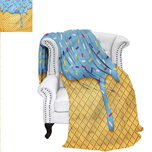 RenteriaDecor Ice Cream Travel Throw Blanket Sweet Waffle Print Image Blanket - Waffle Robe Pique