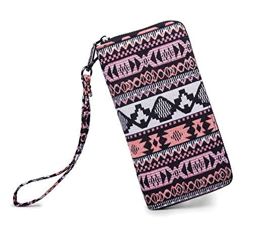LIKEWE Women Pink Stripe Wallet Zip Around Clutch Wallet Large Travel Purse (FB-TT-168) Stripe Zip Around Wallet