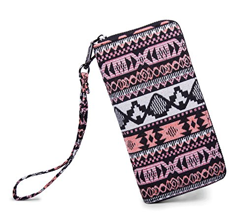 LIKEWE Women Pink Stripe Wallet Zip Around Clutch Wallet Large Travel Purse (FB-TT-168)