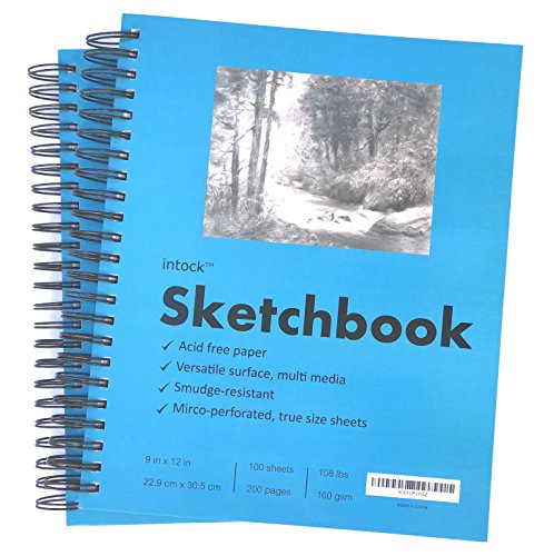 Premium Mixed Media Sketchbook For Drawing, Sketching | 9x12 Inch Thick Paper | Tear & Bleed Resistant | Side Spiral Bound | Perfect For Graphite, Colored Pencils | Value Pack 2-pack 400 Pages ()