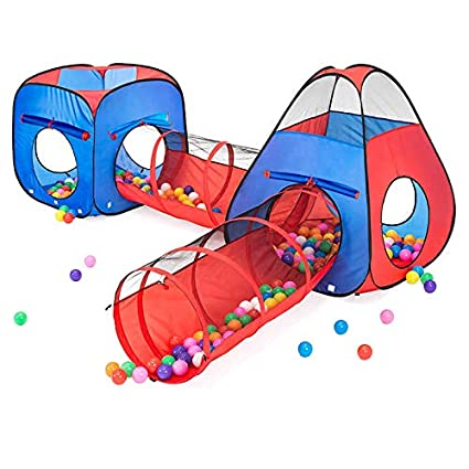 separation shoes 358e6 54a2e Kiddzery 4pc Kids Play tent Pop Up Ball Pit - 2 Tents + 2 Crawl Tunnels -  Children Tent for Boys & Girls, Kids Toddlers & Baby, Large Playhouse For  ...