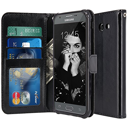 LK Case for Samsung Galaxy J3 Emerge / J3 2017 / J3 Prime / J3 Mission / J3 Eclipse / J3 Luna Pro/Sol 2 / Amp Prime 2 / Express Prime 2, PU Leather Wallet Flip Protective Case Cover (Black) (Galaxy S3 Cases Wallet)