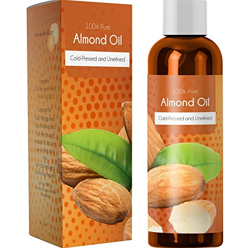 100% Pure Sweet Almond Oil for Skin Nails and Hair Growth Aromatherapy Carrier Oil Moisturizing Anti-Aging Treatment Massage Oil for Stretchmarks Scars Dark Circles Wrinkles Beauty Oil for Smooth Skin