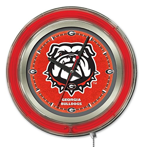 Bar Stool Diameter - Holland Bar Stool Company NCAA Georgia Bulldogs Double Neon Ring 15-Inch Diameter Logo Clock