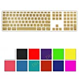 DHZ Gold Full Size CLEAR Ultra Thin Silicone Soft keyboard Cover Skin for Apple Keyboard with Numeric Keypad Wired USB for iMac (Gold)