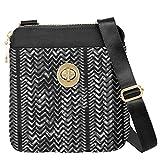 Baggallini RFID Mini Hanover Travel Bag Purce Light Key Fob Bundle (Black White Illusion Print)