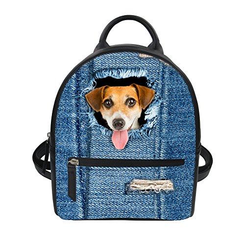 Denim Jack Russell Terrier Leather Shoulder School Bag for Kid Lunch Box Animal Backpack Sannovo