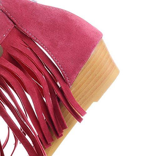 AalarDom Damen Reißverschluss Offener Zehe Niedriger Absatz Pu Leder Sandalen Pink(liusu)