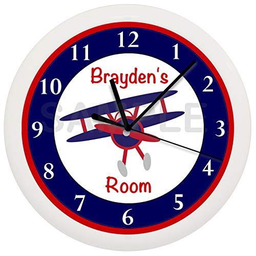 Susie85Electra Airplane Nursery Personalized Wood Wall Clock Modern Decorative Non Ticking for Living Room Kids Bedrooms 12 Inch