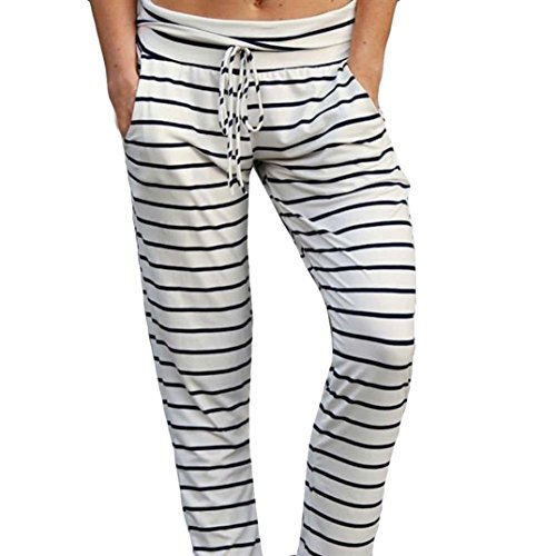 (Sunfei Yoga Pants,Women Women Casual Fashion High Waist Leggings Stripe Print Fashion Wide Leg Pants (White, X-Large))