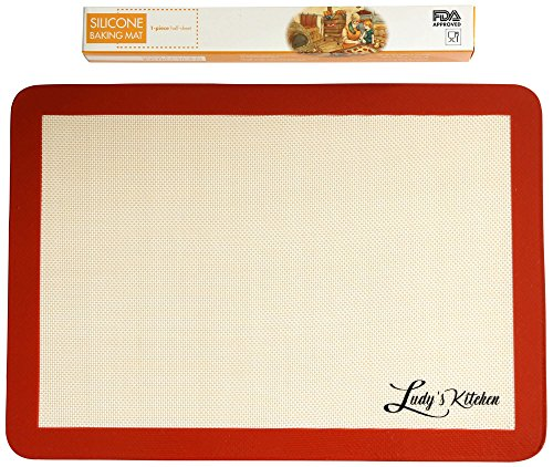Cookie Sheet Liner by Ludy's Kitchen - Replaces Parchment Paper - Professional Grade Silicone Baking Mat - Non-Stick, Durable, & Reusable Silicone Baking Sheets - Great Gift Ideas