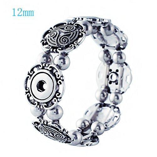 Lovmoment Mini Bracelet 12MM with 4 Buttons Snap Bracelet Bangle Jewelry