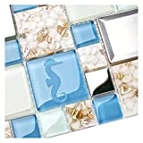 kitchen tile ideas New Idea Tile Kitchen Bath Backsplash Accent Wall Decor TST Glass Metal Tile Marine Animals Icon Beach Style Inner Conch Sea Blue Mosaic Tiles TSTNB11 (10 Square Feet)