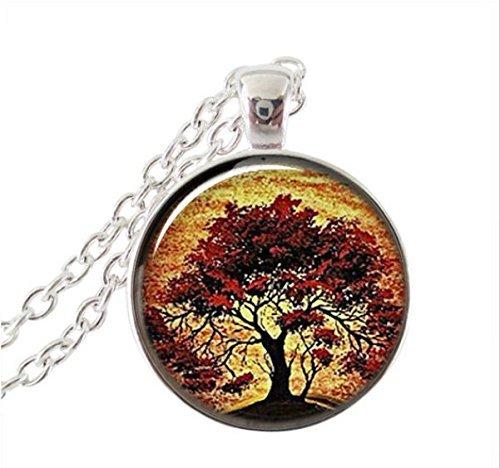 - Red Oak Tree Necklace, Sunset Art Charm Pendant, Tree of Life Necklace, cabochon Pendant