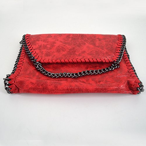 Amily PU Leather Chain Bag Cross Body Bag Hobo Handbag Clutch Shoulder Bag Messenger Bag Purse Pouch for Women Red by Amily (Image #6)