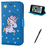 jelly ipod 5 case - MAGQI For iPod Touch 5/6 Case,Many Color Unicorn Pattern Design Cover with Flip Book Style Shell Magnetic Closure Stand Function Protective PU Leather Wallet - Blue