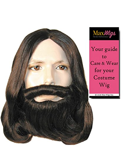 Standard Version Biblical Full Set Color Blonde - Lacey Wigs Beard Mustache Wig Jesus Christ Disciple Apostle Easter Theaterical Quality Bundle With MaxWigs Costume Wig Care ()