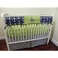 Crib Bedding Set Nautical Crib Bedding in Navy and Lime, Anchors, Whale Baby Bedding