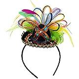 Amscan Cinco De Mayo Fiesta Party Sequins Sombrero Headband with Feather (1 Piece), Multi Color, 2.5 x 5.5