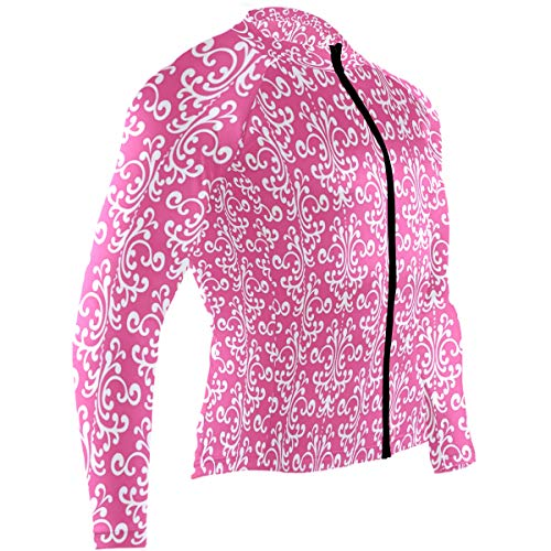 Randolph Wordsworth Pink Damask Mens Cycling Jersey Jacket Full Sleeve Outdoor Cycle Skinsuits Outfit