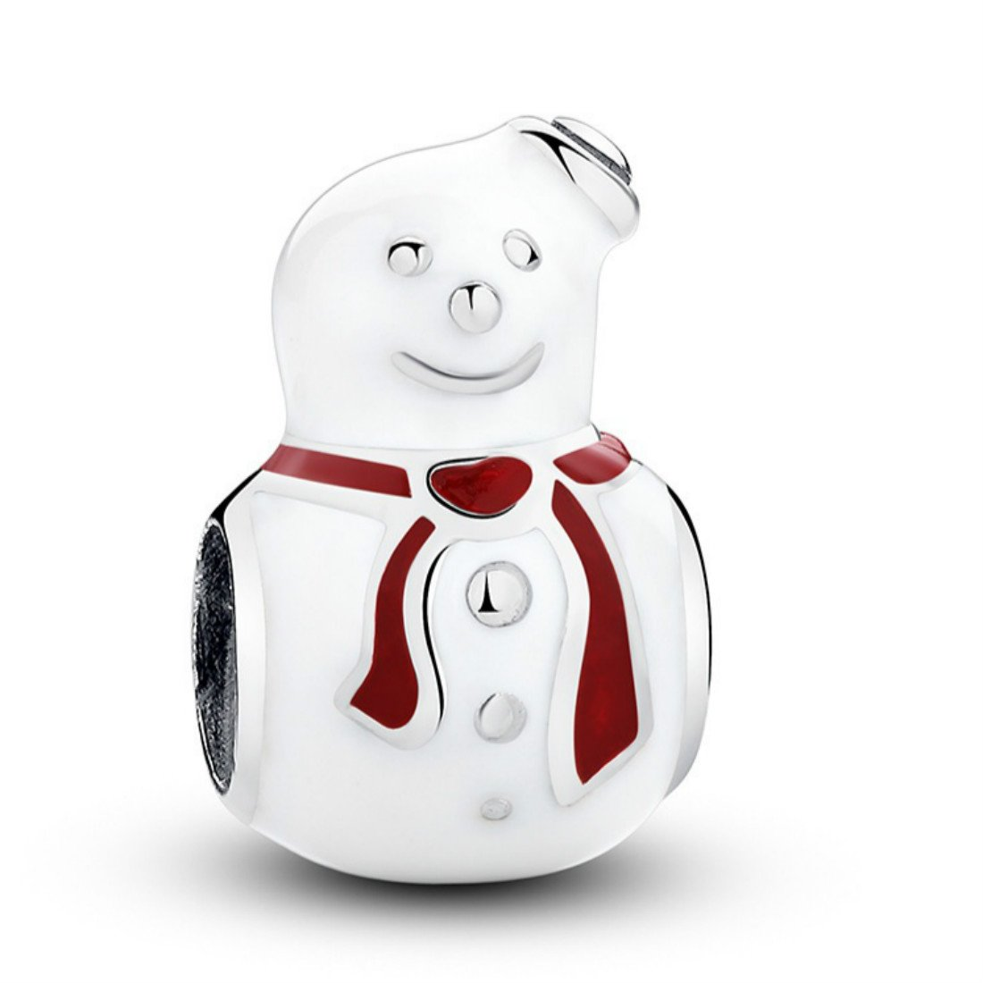 Christmas Snowman 925 Sterling Silver Charm Bead