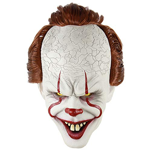 LiuzilaiST Adult Horror Clown Joker Stephen Latex Costume Mask Scary Halloween Cosplay Party Decoration Props White -