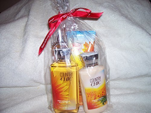 Bath and Body Works Country Chic 4 Piece Full Size Gift Set 10 Oz Shower Gel, 8 Oz Body Lotion, 8 Oz Fragrance Mist & 8 Oz Ultra Shea Body Cream