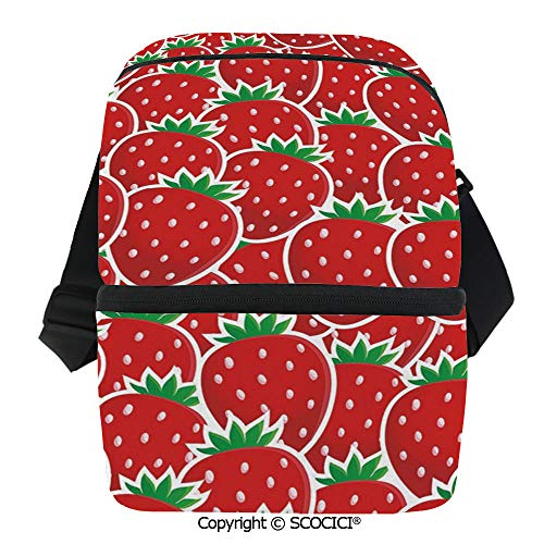 SCOCICI Insulated Lunch Cooler Bag Strawberry Themed Botany Seeds Yummy Food Organic Growth Diet Health Print Decorative Reusable Lunch for Men Women Heat Insulation,Heat ()