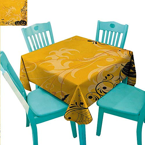 WilliamsDecor Halloween Easy Care Tablecloth Carved Pumpkins with