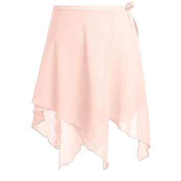 fba1ecaf99101 TiaoBug Femme Asymétrique Jupe de Danse Mini Jupe Ballet Tulle Wrap Jupe  Mousseline Court Jupe de