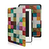 Leafbook  Case for Kindle 8th Generation - The Thinnest and Lightest Leather Cover for Amazon All-New Kindle E-reader 6 [Magnetic] [Auto Wake / Sleep] (2016),Magic Cube