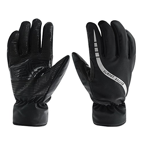 Ski Gloves, Waterproof Thermal Winter Ski Gloves Snowboard Snowmobile Motorcycle Cycling Outdoor Sports Gloves (L, Black)