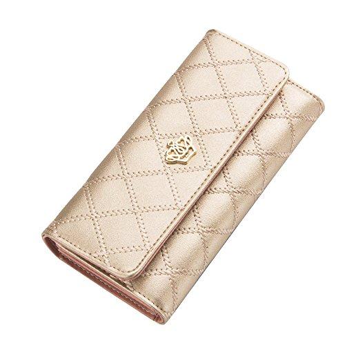 Contever® Stilvoll Damen Clutch Lang Geldbörse Krone PU Leder Brieftasche Kreditkarte Koffer Geldbeutel Handtasche, Champagner-Gold