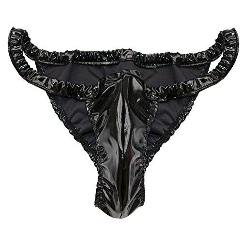 iiniim Mens Sexy Shiny Spandex Rubber Wetlook Bikini Underwear Briefs Shorts Black One ()