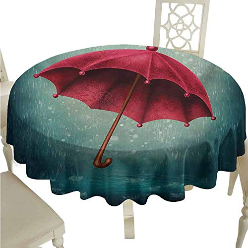 duommhome Winter Spill-Proof Tablecloth Authentic Retro Wooden Handle Under Fall Rainfall Torrent of Rain Urban Image Art Print Easy Care D43 Teal ()