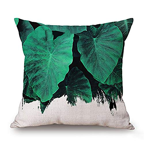 (JES&MEDIS Spring Green Fern Leaf Pattern Pillow Case Home Bed Room Decorative Cushion Cover Soft Linen Cotton Throw Pillowcase Square,18