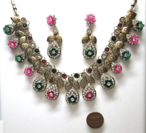 Green Pink Color Faux Emerald Golden Look 84 gm 3 Pcs Awesome Necklace Earring American Style Set BSCDCYE