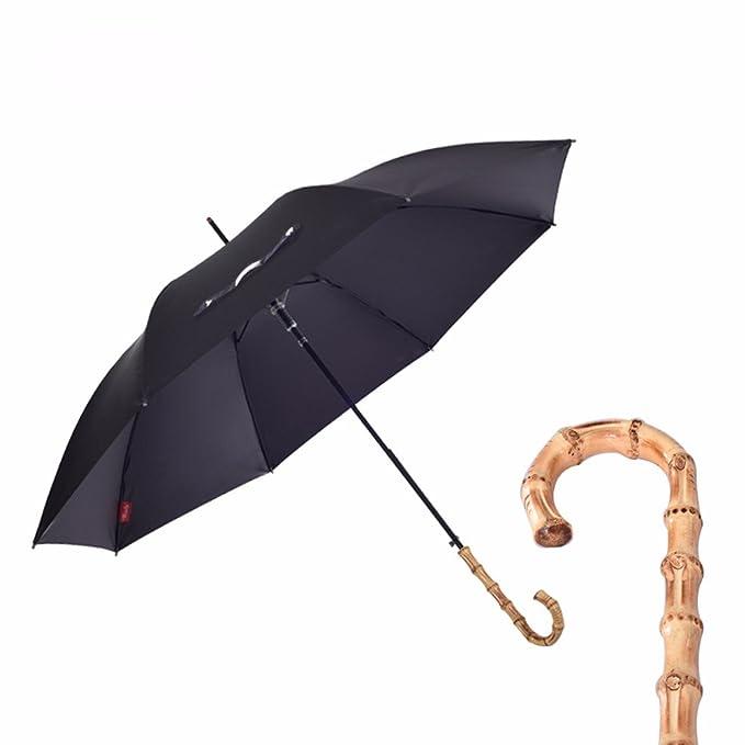 ZJM bambú paraguas mango largo mujer hombre paraguas creativo Inglés Gentleman Retro, Business largo paraguas, negro: Amazon.es: Deportes y aire libre