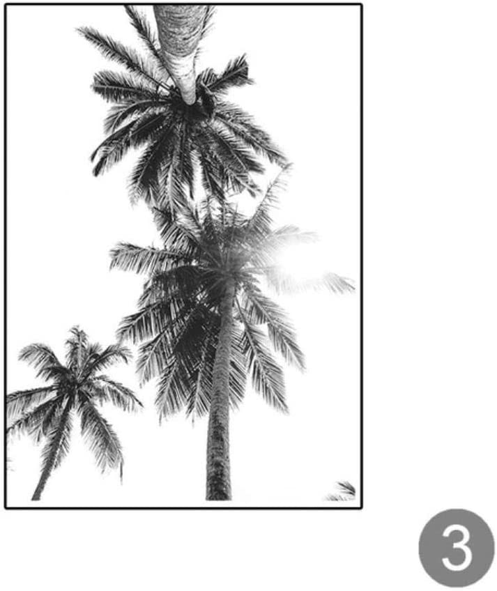 HENGCHENG Cuadro Arte Carteles De Palmeras En Blanco Y Negro Playa Lienzo Pintura E Impresiones Plantas Tropicales Imágenes para Sala De Estar Salón De Decoración, 30X40 Cm Sin Marco