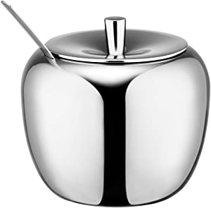 Emousport 18/8 Stainless Steel Apple Sugar Bowl Seasoning Jar Condiment Pot Spice Container Canister Cruet with Lid and Spoon